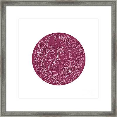 Old Woman Face Circle Mandala Framed Print