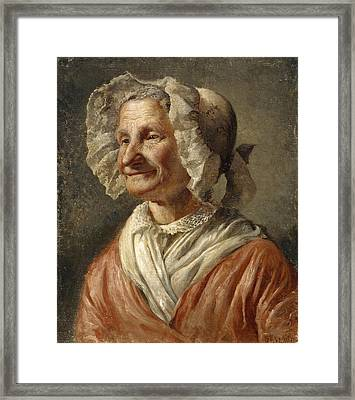 Old Woman In A White Bonnet Framed Print by Karl Emanuel Jansson