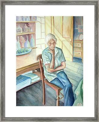 Old Woman Framed Print by Nancy Mueller
