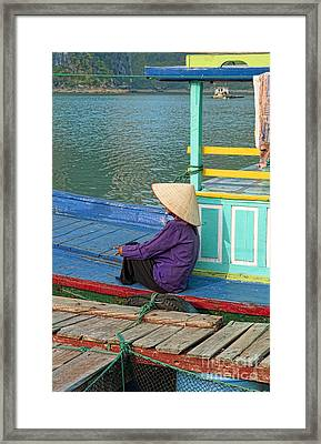 Old Woman On A Colorful River Boat Framed Print