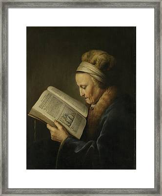 Old Woman Reading Framed Print by Gerard Dou