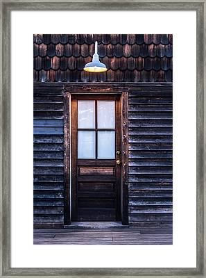 Framed Print featuring the photograph Old Wood Door And Light by Terry DeLuco