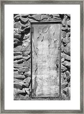 Old Wood Door  And Stone - Vertical Bw Framed Print