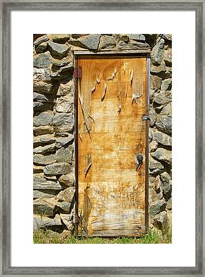 Old Wood Door And Stone - Vertical  Framed Print
