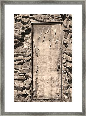 Old Wood Door  And Stone - Vertical Sepia Bw Framed Print
