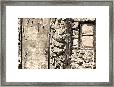 Old Wood Door Window And Stone In Sepia Black And White Framed Print
