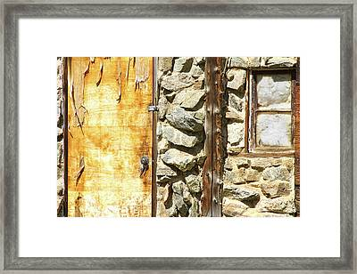 Old Wood Door Window And Stone Framed Print