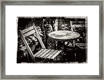 Rustic Wood Table And Chair Set Framed Print