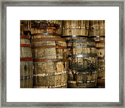 Old Wood Whiskey Barrels Framed Print