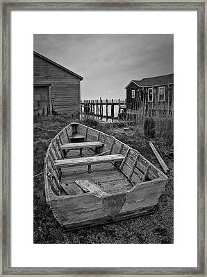Old Wooden Boat Bw Framed Print