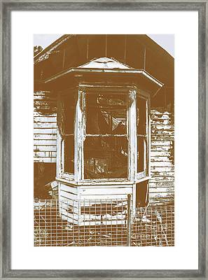 Old Wooden Burnt House Destroyed By Fire Framed Print