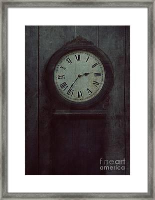Old Wooden Clock Framed Print