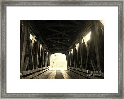Old Wooden Covered Bridge - Southern Indiana - Sepia Framed Print