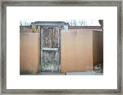 Framed Print featuring the photograph Old Wooden Door Adobe by Andrea Hazel Ihlefeld