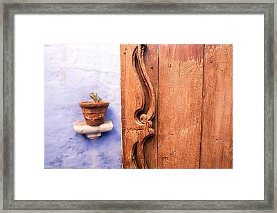 Old Wooden Door In Arequipa Framed Print by Jess Kraft
