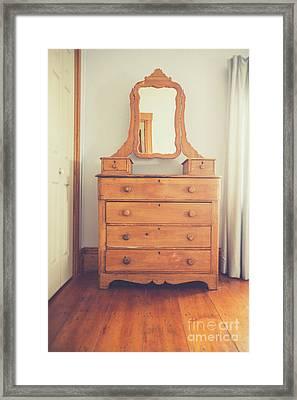 Old Wooden Dresser Framed Print by Edward Fielding
