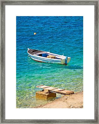 Old Wooden Fishermen Boat On Turquoise Beach Framed Print