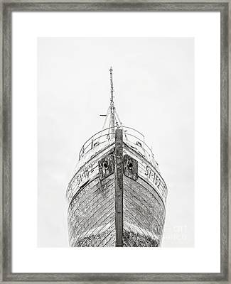 Framed Print featuring the photograph Old Wooden Fishing Boat In The Fog Iceland by Edward Fielding