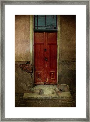 Old Wooden Gate Painted In Red  Framed Print