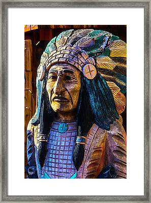 Old Wooden Indian Framed Print by Garry Gay