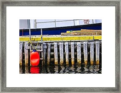 Old Wooden Pier In Newfoundland Framed Print by Elena Elisseeva