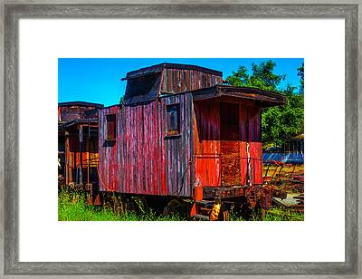 Old Wooden Red Caboose Framed Print by Garry Gay