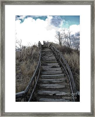 Old Wooden Stairs Leading Up To Top Of A Sand Dune Framed Print by Christopher Purcell