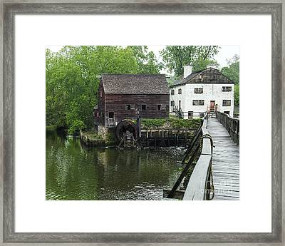Old Wooden Water Wheel And Bridge  Framed Print