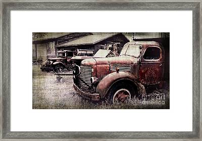 Old Work Trucks Framed Print by Perry Webster