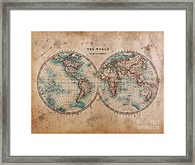 Old World Map In Hemispheres Framed Print by Richard Thomas