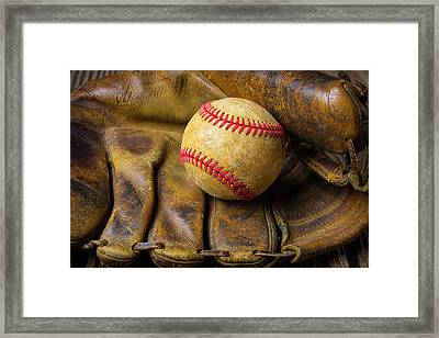 Old Worn Ball Mitt Framed Print