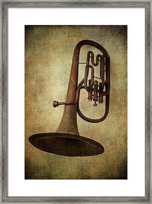Old Worn Horn Framed Print by Garry Gay