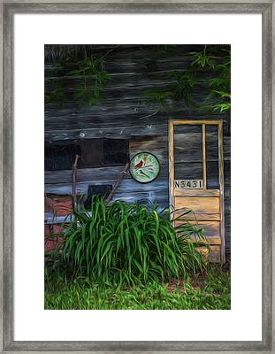 Old Yellow Door-textured Framed Print by Kathleen Scanlan