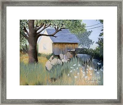 Old Yellow Shed Framed Print by Emily Michaud
