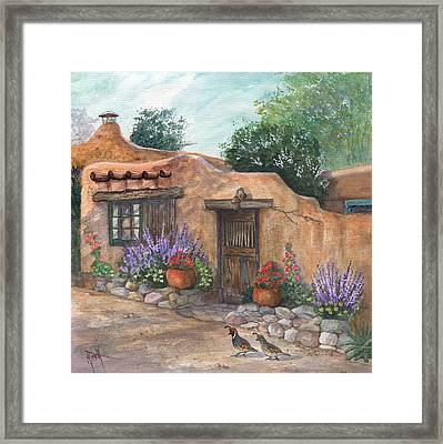 Framed Print featuring the painting Old Adobe Cottage by Marilyn Smith