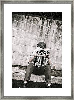 Olden Day Man Reading Newspaper Tabloid Framed Print