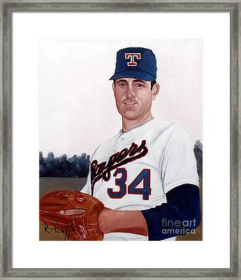 Older Nolan Ryan With The Texas Rangers Framed Print