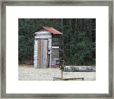 Oldtime Outhouse - Digital Art Framed Print