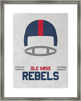 Ole Miss Rebels Vintage Football Art Framed Print by Joe Hamilton