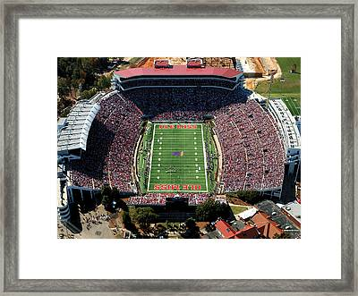 Ole Miss Vaught-hemingway Stadium Aerial View Framed Print by University of Mississippi - Imaging Services - Athletics