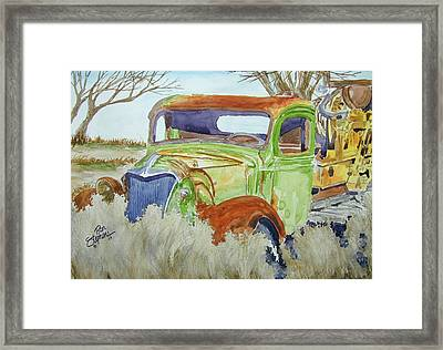 Framed Print featuring the painting Ole Rusty Green by Ron Stephens