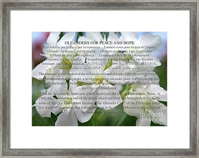 Oleanders For Peace And Hope Framed Print