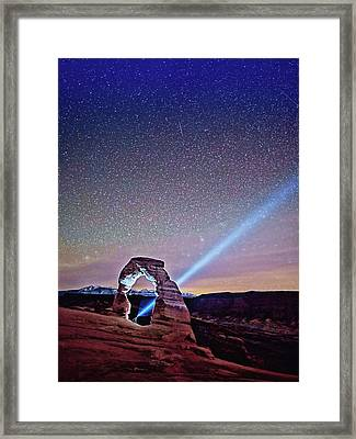 Olena Art Starry Night Pointer At Delicate Arch Moab National Park Framed Print