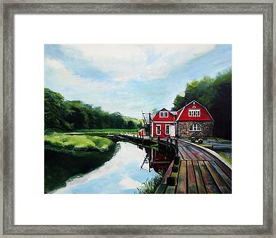 Ole's Boathouse In Riverside Connecticut Framed Print by Colleen Proppe