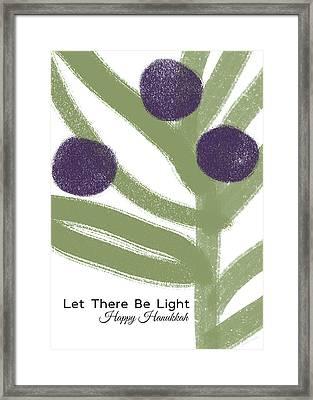 Olive Branch Hanukkah Card- Art By Linda Woods Framed Print