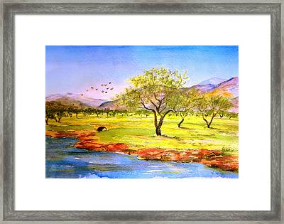 Framed Print featuring the painting Olive Grove by Valerie Anne Kelly
