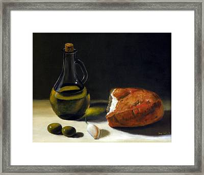 Olive Oil And Bread Framed Print