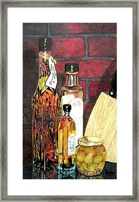 Olive Oil Bottles Framed Print by Susan Moyer