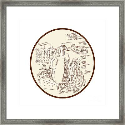 Olive Oil Jar Cheese Tuscan Countryside Etching Framed Print