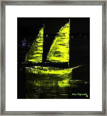 Olive Sail Night Crop Framed Print by Ken Figurski